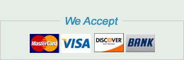 We accept VISA, MC, Discover, American Express, Check
